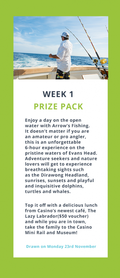 Week 1 Prize Pack. Enjoy a day on the open water with Arrow's Fishing. It doesn't matter if you are an amateur or pro angler, this is an unforgettable 6-hour experience on the pristine waters of Evans Head.  Adventure seekers and nature lovers will get to experience breathtaking sights such as the Dirawong Headland, sunrises, sunsets and playful and inquisitive dolphins, turtles and whales.  Top it off with a delicious lunch from Casino's newest café, The Lazy Labrador($50 voucher) and while you are in town, take the family to the Casino Mini Rail and Museum! Drawn on Monday 23rd November